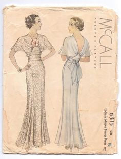 1935 McCall 8315 | Ladies' & Misses' Dinner Dress