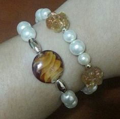 Pearls with murano glass beads bracelets
