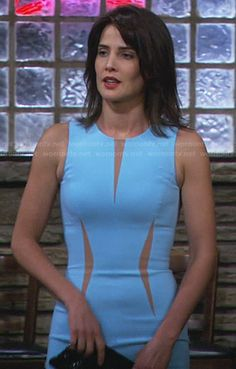 Robin's light blue dress with nude insets on How I Met Your Mother.  Outfit Details: http://wornontv.net/29845/ #HIMYM