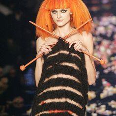 ... knitting on the run #jeanpaulgaultier paying homage to #soniarykiel #queenofknits #handknit #wool #knitspiration
