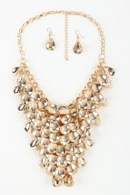 Curved Charm Statement Necklace