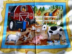 1 FLAWED Quilt Fabric Panel Old MacDonalds Farm Horse Cow Tractor | auntiechrisquiltfabric - Craft Supplies on ArtFire