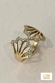 Gold and diamond dress ring by designer Flora Bhattachary Diamond Dress, Bespoke Jewellery, Dress Rings, Wedding Bands, Gold Rings, Flora, Fine Jewelry, Metallic, Jewelry Design