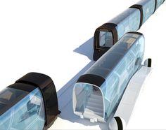 Future Transportation - Modular Diveria train appears as moving architecture Futuristic Interior, Futuristic Design, Mode Of Transport, Public Transport, Future Transportation, Train Truck, Landscape Architecture Design, Car Design Sketch, Future Car