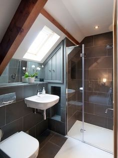 Modern Attic Bathroom Design Ideas Modern Attic Bathroom Design Ideas - Frameless shower enclosure in gable roof loft conversion. Loft Ensuite, Loft Bathroom, Upstairs Bathrooms, Small Bathroom, Bathroom Ideas, Shower Ideas, Bathroom Faucets, Barn Bathroom, Bathroom Cabinets
