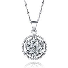 925 Sterling Silver Pave Flower Cubic Zirconia Round Shape Pendant Necklace