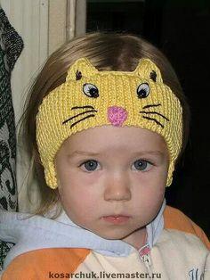 Meow kitty crocheted headband.