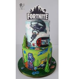 Fortnite by Antonia Lazarova 10th Birthday, Birthday Cake, Birthday Ideas, Roblox Cake, Video Game Cakes, Cake For Husband, Dad Cake, Basketball Birthday, Gift Cake