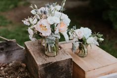 Mason jar floral arrangement in blush, peach, and white. Wedding Catering, Wedding Venues, Garden Wedding, Dream Wedding, Wedding Bouquets, Wedding Flowers, Aisle Flowers, Key Design, Event Design
