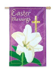 """Easter Blessings Garden Flag 12.5"""" X 18"""" by Evergreen. $12.00. 12.5"""" X 18"""". Will fit most garden/ mini poles and hangers. Appliqued design. All weather polyester. The Easter Blessings Garden Flag features a pretty, white Easter lily with a gold cross in the background. The words """"Easter Blessings"""" appear in the top left corner of this Easter mini flag on a purple background."""