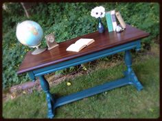 Antique Library Table painted in a peacock blue with dark stained wood top. By URBANCottage. www.facebook.com/URBANCottagefurniture