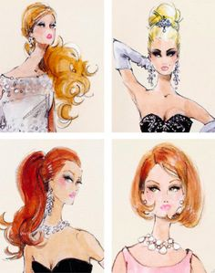 How chic are these vintage Barbie illustrations by Robert Best? They'd be amazing framed and hanging in a girly room. Betty Draper, Fashion Art, Fashion Beauty, Vintage Fashion, Fashion Trends, Vintage Love, Vintage Beauty, Vintage Glamour, Vintage Style