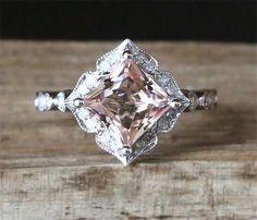 Vintage Morganite Engagement Ring VS 7mm Princess Cut