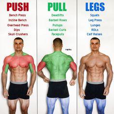 Push/Pull/Legs Weight Training Workout Schedule For 7 Days – – Boxen und Krafttraining Fitness Workouts, Fitness Motivation, Weight Training Workouts, Gym Workout Tips, Workout Schedule, Push Pull Workout, Workout Splits, Push Pull Legs, Men Health Tips