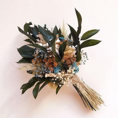 Small rustic wedding bouquet made of preserved Eucaliptus and wild flowers. It stays fresh up to 10 years! Small Wedding Bouquets, Winter Wedding Flowers, Rustic Wedding Flowers, Bridal Flowers, Boho Wedding, Flower Bouquet Diy, Rustic Bouquet, Rustic Boutonniere, Boho Chic