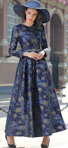 Elegant O-Neck Long Sleeve Print Big Hem Maxi Dress