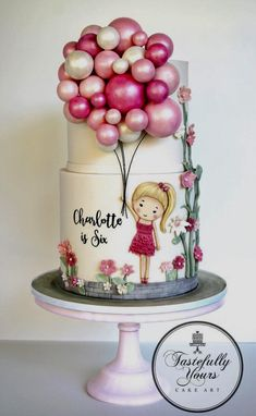 Girls Birthday Cake with Balloons - Bespoke original design by Tastefully Yours Cake Art Cute Cakes, Pretty Cakes, Girly Cakes, Gorgeous Cakes, Amazing Cakes, Fondant Cakes, Cupcake Cakes, 3d Cakes, Baking Cupcakes