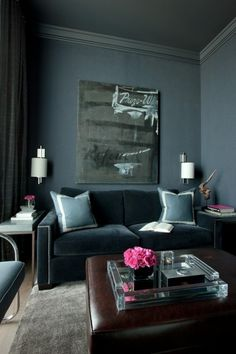 Mixing Masculine Feminine Furniture to create a modern yet very cosy living room. I love how they have soft grey and pink tones to soften the harsh colours or darker wall colouring and furnishing. My Living Room, Home And Living, Living Room Decor, Living Spaces, Small Living, Modern Living, Cozy Living, Canapé Design, House Design