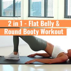 2 in 1 – Flat Belly & Round Booty Workout (P1) Abs And Cardio Workout, Flat Tummy Workout, Plank Workout, Belly Fat Workout, Ab Workout For Women At Home, Workout Videos For Women, Apartment Workout, Workouts Without Equipment, Hiit