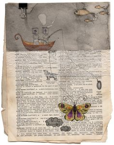 Cocoon by Lakhsmita Indira. Collage and paint on an old dictionary page.