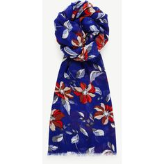 Ann Taylor Vibrant Floral Scarf (175 BRL) ❤ liked on Polyvore featuring accessories, scarves, pluto blue, silk shawl, ann taylor scarves, blue scarves, blue shawl and fringed shawls