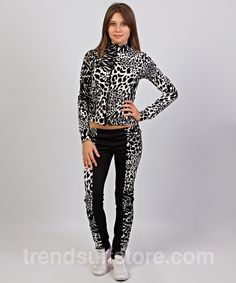 #hood #leopard #tracksuit Stylish womens white leopard hooded tracksuit