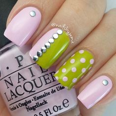Light Pink and Green Nail Design