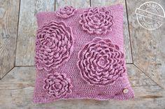 crochet rosette cushion