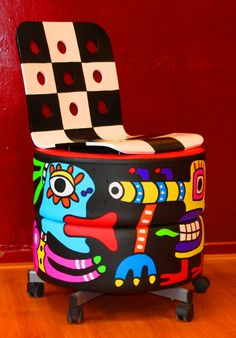 Art chair, based on old Alfa Romeo racing tires