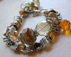 BLACK FRIDAY SALE autumn's refection citrine agate silver bar bead key crystal statement charm bracelet. $57.59, via Etsy.~