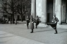 military guard shows the Prussian goose-step