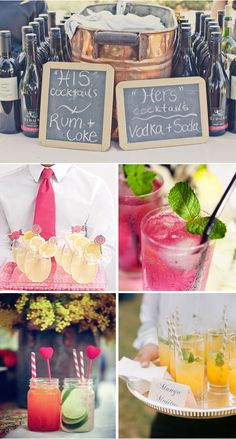 personalize-your-wedding---signature-cocktails... would be so cute to dye the drinks pink!!!