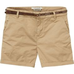 Chino Short In Sand (5.640 RUB) ❤ liked on Polyvore featuring shorts, zipper pocket shorts, pocket shorts, maison scotch shorts, short shorts and stretch shorts