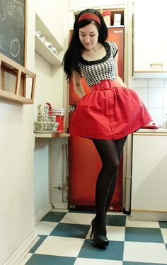 Everyday Rockabilly Style:: Red skirt and black tights:: Rockabilly Style:: Retro Fashion