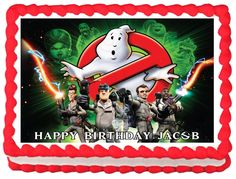"GHOSTBUSTER+Edible+image+cake+topper+1/4+sheet+(10.5""+x+8"")"