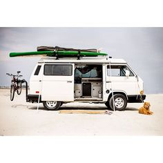 A camper-converted Vanagon, especially a 4wd Syncro, is truly the Ultimate Adventure Vehicle. A mobile office, motel, and grocery-getter. It's compact enough for town with plenty of comforts—rotating chairs and slide-out tables, kitchen, headroom for changing from wetsuit to city clothes, and enough interior length to swallow a ten-foot surfboard. More #Vanagon at OutsideOnline.com | Photo: Bobby Altman #Padgram