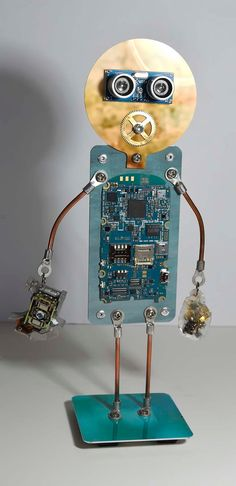 Cell phone circuit board bot robot steam punk art sculpture figure man unique OOAK assemblage recycled gift clock parts