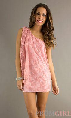 Short Draped One Shoulder Lace Dress at PromGirl.com