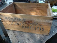 Crate, Fruit Crate, 1960s, Album Storage, Wood Box, Pear Crate, Lake County, Mountain Bartletts, Man Cave, Storage, Rustic, Primitive, Casa  by CasaKarmaDecor, $59.00 USD