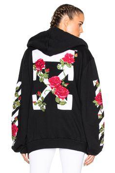 Image 1 of OFF-WHITE Roses Hoodie in Black Multi