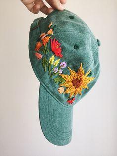 sunflower hand embroidered hat