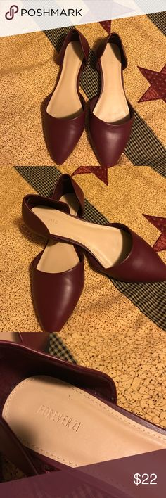 Very nice shoes never worn Burgundy color forever 21 shoes never worn new without tags Forever 21 Shoes Flats & Loafers