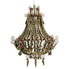Mud chandelier in Anthracite clay beads Beaded Chandelier, Chandelier Lighting, Chandeliers, Diy Light Fixtures, Concrete Art, Global Design, African Design, Lighting Solutions, Clay Beads