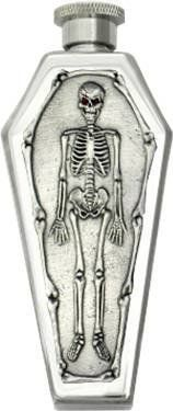 """""""Skeleton"""" Pewter Emblem Coffin Flask Mirror Finished by Peopels Choice. $26.99. 3.5 fluid ounce with a screw top. This 3.5oz Skeleton coffin flask is made of heavy gauge durable 18/8 stainless steel with mirror finish.. It's embellished with a large 3-D """"Skeleton"""" emblem made of lead-free fine pewter and made in the USA, exclusive copyrighted art design.. Measures: Length 5-1/4"""" x Width 2-1/8"""" x Depth 1-1/16"""". This """"Skeleton"""" coffin flask one of our best selling flask fo..."""
