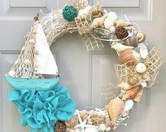 Seashell Wreath, Beach Wreath, Sailboat Wreath, Sea Shell Wreath, Starfish Wreath