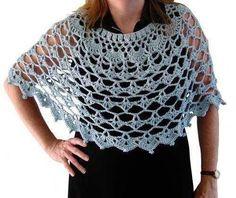 Graceful Shells Poncho By Maggie Weldon - Free Crochet Pattern With Website Registration - (bestfreecrochet) Caplet Pattern, Crochet Poncho Patterns, Crochet Shawls And Wraps, Crochet Scarves, Crochet Clothes, Crochet Stitches, Gilet Crochet, Crochet Lace, Free Crochet