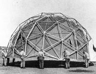 Buckminster Fuller believed in 'applying the principles of science to solving the problems of humanity' and designed the geodesic dome structure. 1965