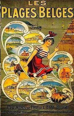 Vintage Railway Travel Poster - The Beaches of Belgium.