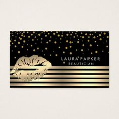 #stripes - #Lips Gold Black Stripes Makeup Artist Beautician Business Card