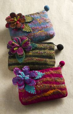 Mini Felt Flower Pouches, Accessories, Apparel Accessories - The Museum Shop of The Art Institute of Chicago purses from needle felting and wet felting . Nuno Felting, Needle Felting, Recycled Sweaters, Wool Sweaters, Felt Purse, Wool Art, Wool Applique, Felt Hearts, Craft Patterns